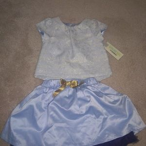 NWT blue Jacquard top and skirt